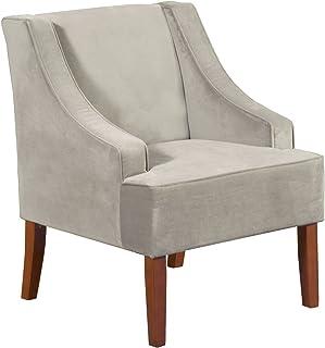 HomePop Velvet Swoop Arm Accent Chair, Gray