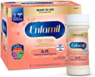 Enfamil A.R. Ready to Feed Spit Up Baby Formula Milk, 2 fluid ounce Nursette (6 count) - Omega 3 DHA, Probiotics, Immune & Brain Support