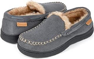 Zigzagger Men's Microsuede Moccasin Slippers w/Indoor Outdoor Nonslip Sole