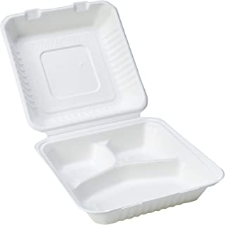 AmazonBasics Compostable PLA Lining Clamshell Hinged Food Container, 3-Compartment, 9.2 x 9 x 3 Inches, 200 Containers
