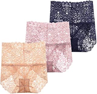Femaroly Women Sexy Lace Underwear High Waist Tummy Control Panties Briefs