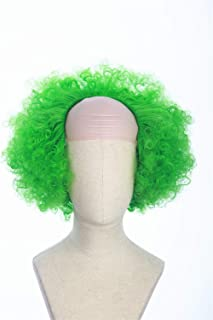 Cosplaywigscom: Joker Clown Wig Inspired by Movie Joker 2019 Halloween Costume Cosplay wig Creepy Green Puffy Curly Hair with Bald Cap for (Adults)