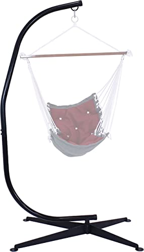 lowest Sunnydaze Hammock Chair Stand Only - Metal C-Stand for Hanging lowest Hammock Chair - Indoor or Outdoor outlet online sale Use - Durable 300 Pound Capacity outlet online sale