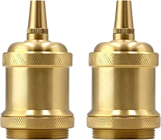 Solid Brass Light Socket E26 Vintage Pendent Lamp Holder Keyless Edison DIY Lamps Ceramic Standard Medimun Screw Base with Metal Threaded Cord Grip by UPIDLighting