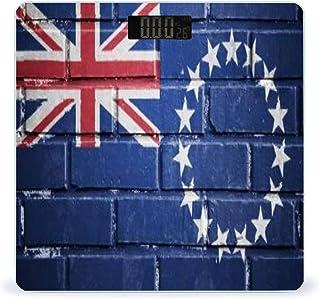 Cooköarna flagga på textur tegelvägg mycket exakt smart fitness viktvåg digital med LCD-display badrumsvåg