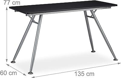 Relaxdays, design moderne pour chambre d'ado et bureau, gros pupitre,HlP: 77 x 135 x 60 cm, noir, MDF, métal