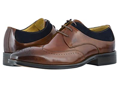 Stacy Adams Hewlett Wing Tip Oxford (Cognac/Navy) Men