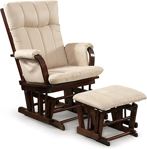 Artiva USA Home Deluxe Microfiber Cushion Cherry Wood Glider Rocker Chair And Ottoman Set Mocha