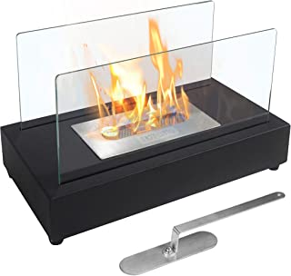 Skypatio New Tabletop Fireplace Heater, Indoor Outdoor Ventless Table Styled Bio Ethanol Firepits Portable Fire Bowl Pot, Black, Real Flame Like Gel Fireplaces or Wood Log Fire Pit,14 Inch.
