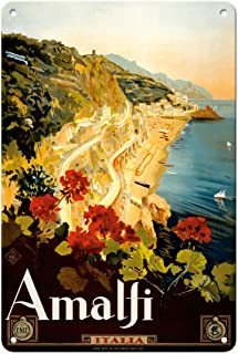 Pacifica Island Art Amalfi Italia - Campania, Italy - Vintage Travel Poster by Mario Borgoni c.1925-8in x 12in Vintage Met...
