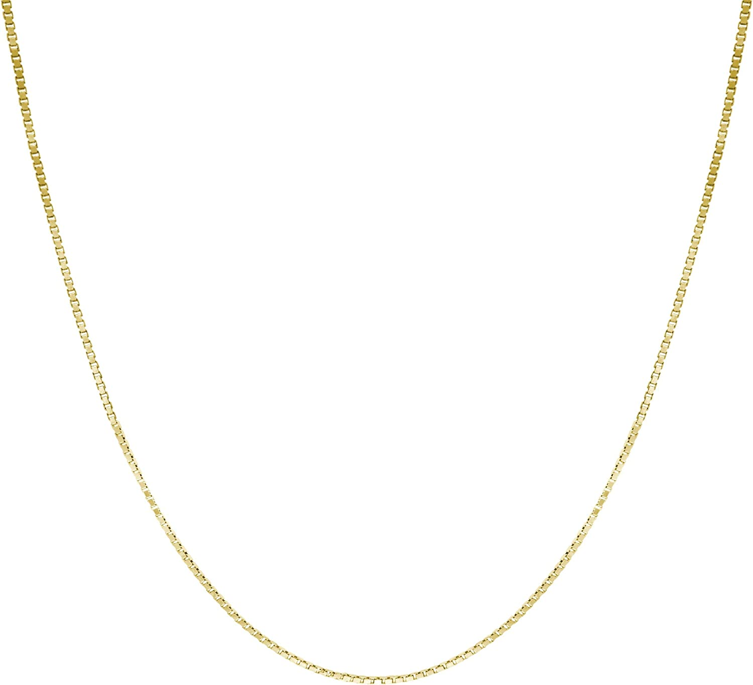 Honolulu Jewelry Company 14K Solid Gold 0.7mm Box Chain Necklace, 16