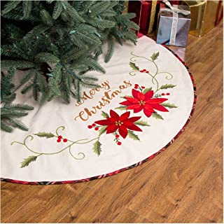Glitzhome Fabric Poinsettia Tree Skirt Christmas for Xmas Holiday Decorations Indoor Outdoor Tree Ornaments, 48