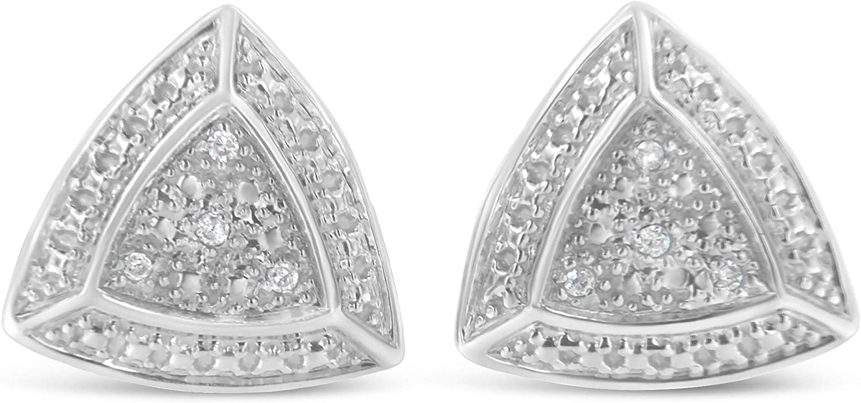 .925 Sterling Silver Diamond-Accented 4-Stone Max Direct store 73% OFF Ha Trillion Shaped