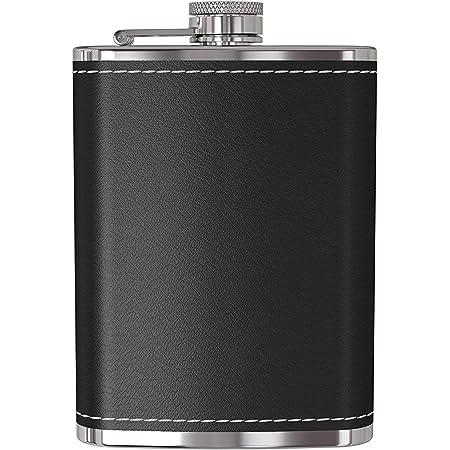 DIVISTAR Frasco para Licor - Frasco de Cadera de Bolsillo de Acero Inoxidable 18/8 a Prueba de Fugas de 9 oz con Tapa de Cuero Negro para Alcohol, ...