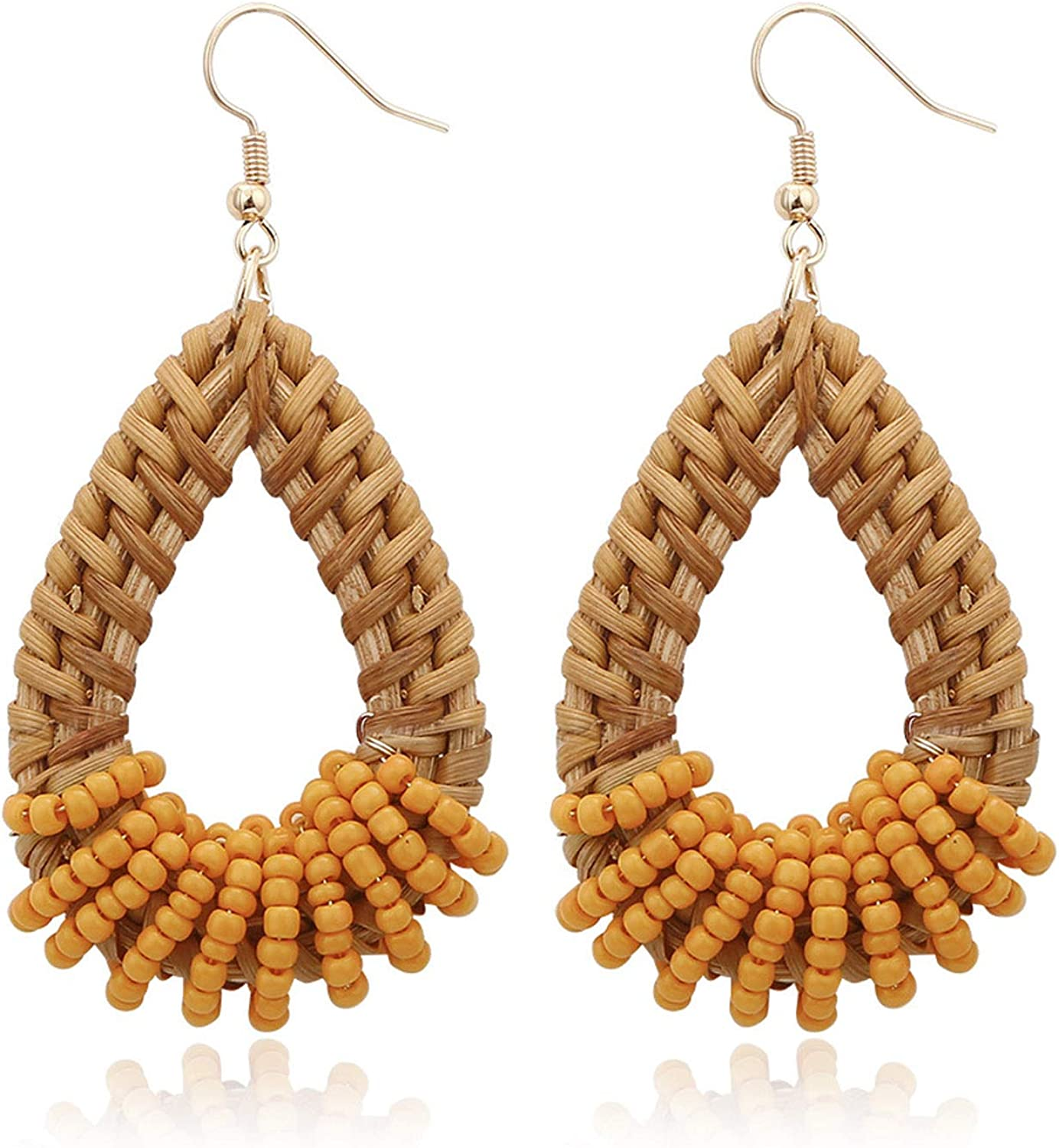 Dangle Earrings Clip on Earrings for Women Girls Rattan Bohemian Boho Handmade Seed Beaded Dangling Piecered or No Piecered Gold Tone Lightweight