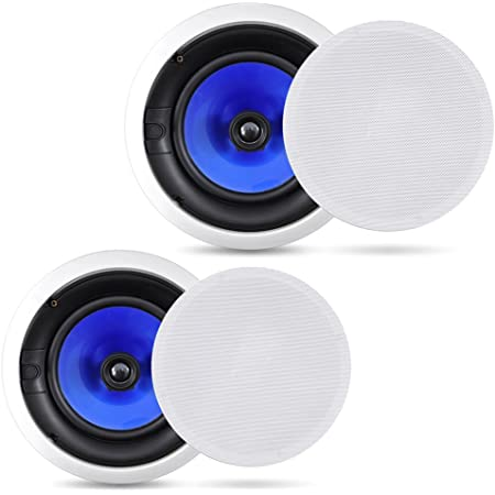 """2-Way In-Wall In-Ceiling Speaker System - Dual 8 Inch 300W Pair of Ceiling Wall Flush Mount Speakers w/ 1"""" Silk Dome Tweeter, Adjustable Treble Control - For Home Theater Entertainment - Pyle PIC8E"""