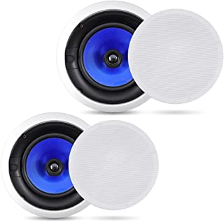 2-Way In-Wall In-Ceiling Speaker System - Dual 8 Inch 300W Pair of Ceiling Wall Flush Mount Speakers w/ 1