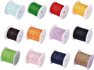 12 Rolls Fil Tressé En Polyester, Cordon de Cire Fil de Polyester, 1.0 Mm Cordon de Perles pour Tricoter, pour Bracelet Co...