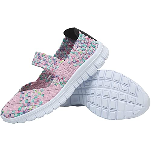 4338ca47c2a3 L-RUN Women s Water Shoes Walking Shoes Woven Light Weight Loafer Flats  Slip On Casual