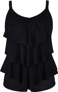 Women's Tankini Set Ruffle Swimwear Solid Two Pieces Swimsuit