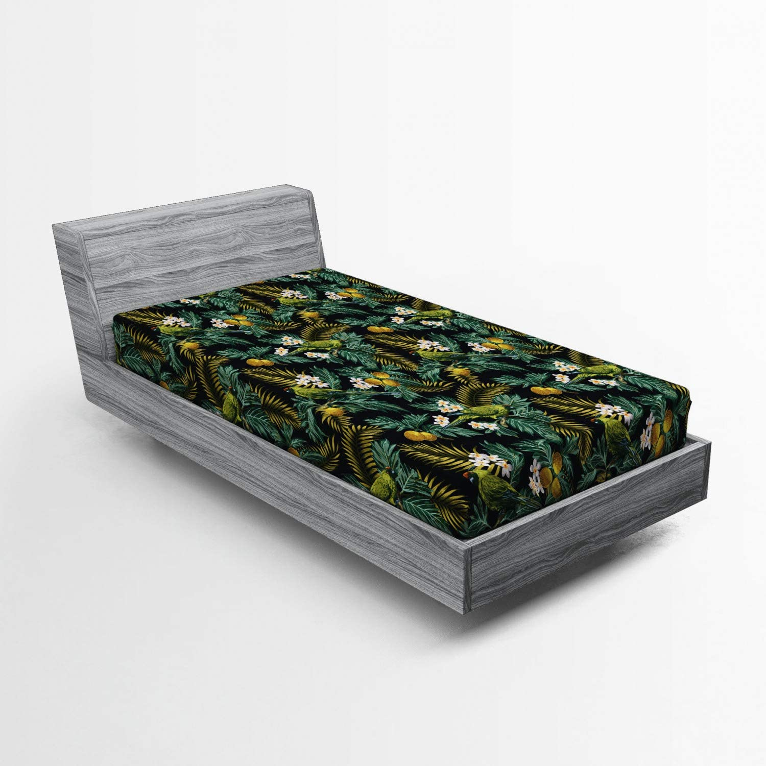 Ambesonne Tropical Fitted Sheet with Breadfrui Pattern Hawaiian Clearance SALE Limited Today's only time