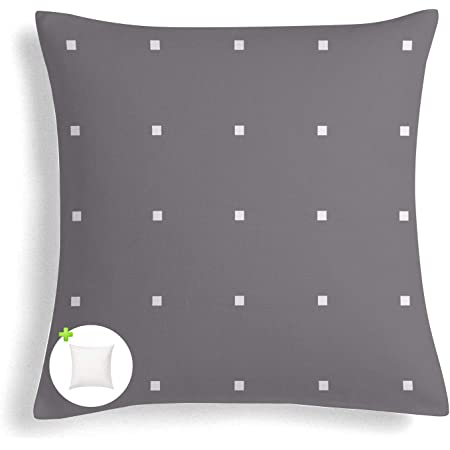 Amazon Com Fabritones Outdoor Pillows With Insert 18x18 Inch Square Grey Polka Dot Pattern Decorative Patio Accent Pillow Garden Outdoor