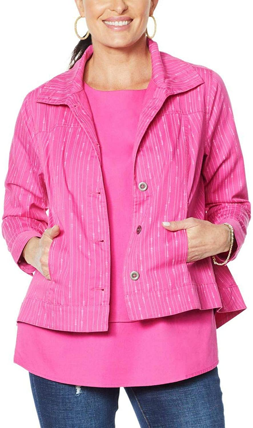 DG2 by Diane Gilman Plus Size SoftCell Lightweight Chambray Jacket. 697419-Plus