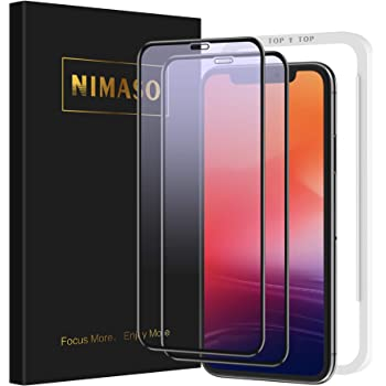 【ブルーライトカット】【2枚セット】 Nimaso iPhone 11 Pro Max/Xs Max(6.5インチ)用 全面保護フィルム 液晶強化ガラス 眼精疲労軽減 【ガイド枠】【フルカバー】