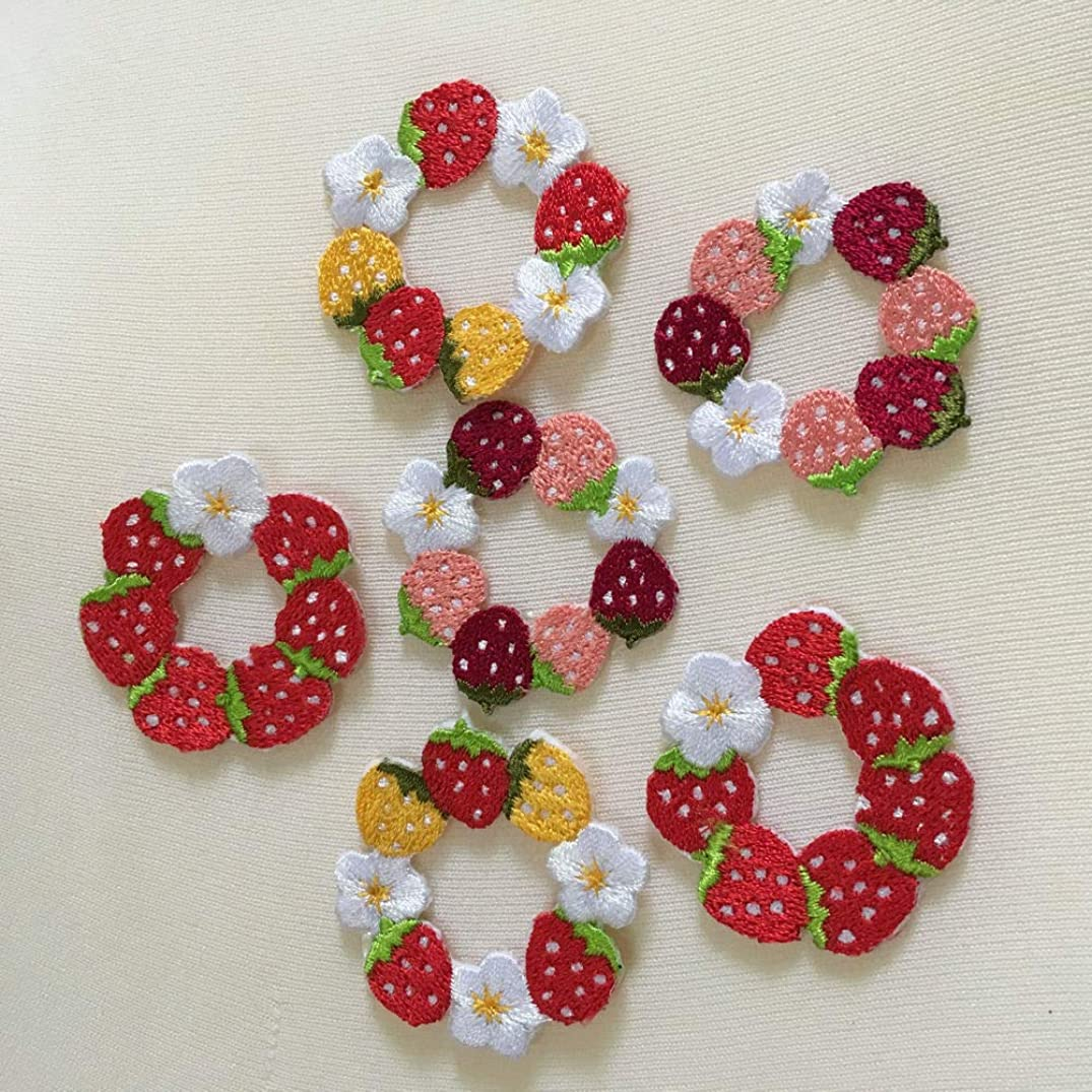 Tiny Beautiful Flower Patches for Clothing Iron On Embroidered Appliques Women Stickers for Bags Hats DIY Accessories (Strawberry)