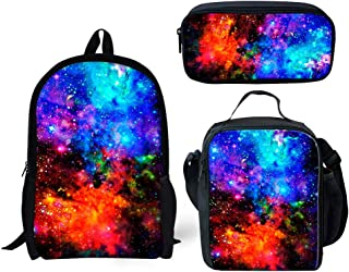 Coloranimal Universe Galaxy Printing School Backpack+Insulated Lunch Bag+Pencil Case