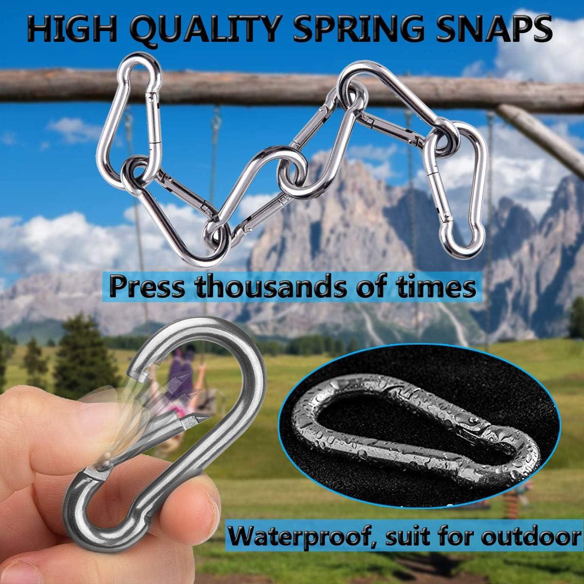 Ekunbuy Carabiner Clips 304 Stainless Steel Spring Snap Hooks Spring Clips Keychain Link Buckle Rope Connector for Camping Hiking Swing Gym Hammock