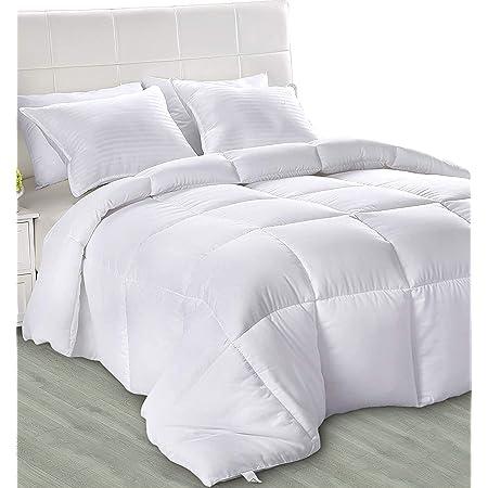 Utopia Bedding Légère Couette - Couette ete - Couette 4 Saisons - Couette Blanc avec Onglets d'angle - Couverture - Couette en Microfibre - Lavable en Machine (Blanc 220 x 240 cm 200 GSM)