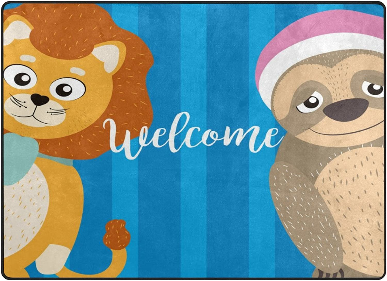 SUABO 80 x 58 inches Area Rug Non-Slip Floor Mat Cute Animals Printed Doormats for Living Room Bedroom