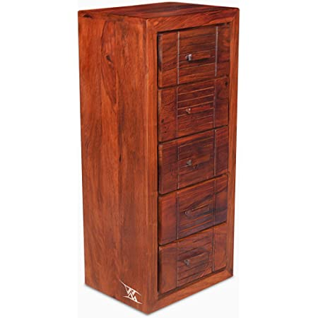WOOD MOUNT Sheesham Wood Chest of Drawers Storage 5 Drawers Chester Cabinet Solid Wooden Dresser Organizer Furniture for Home Living Room Bedroom - Honey Finish