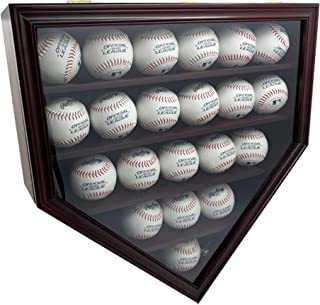 DECOMIL Solid Wood 21 Baseball Display Case Wall Cabinet Holder Shadow Box, w/UV Protection, Lockable