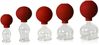 Lauschaer glas, set van 5 stuks, met bal van 25-35-45-55-60 mm, voor professioneel, medisch, brandloos cups, cupping glas,...