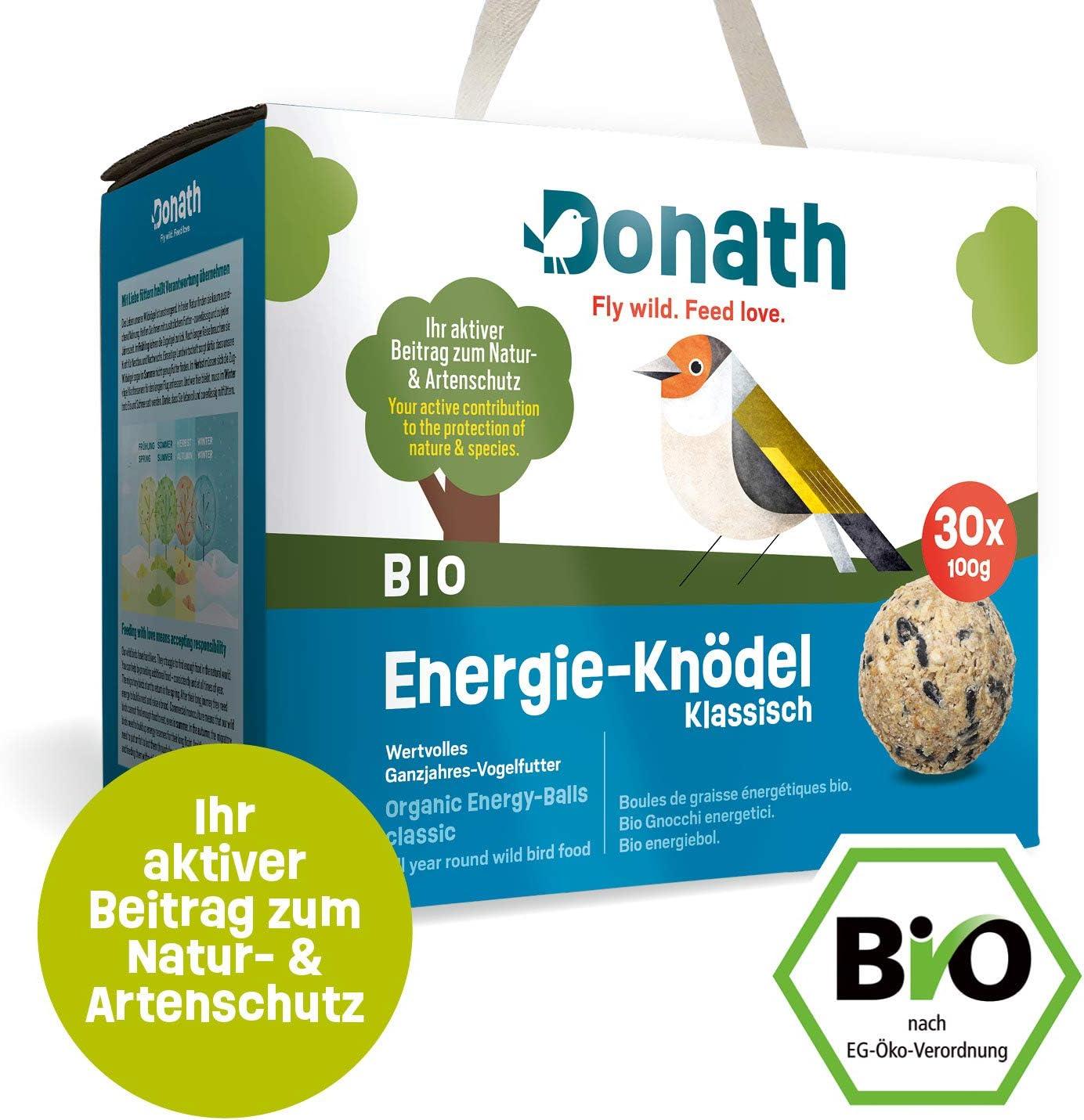 Donath BIO Energie-Kn/ödel Klassisch mit kraftspendendem Fett Meisenkn/ödel ohne Netz aus unserer Manufaktur in S/üddeutschland ohne Netz 100g je Kn/ödel wertvolles Ganzjahres Wildvogelfutter