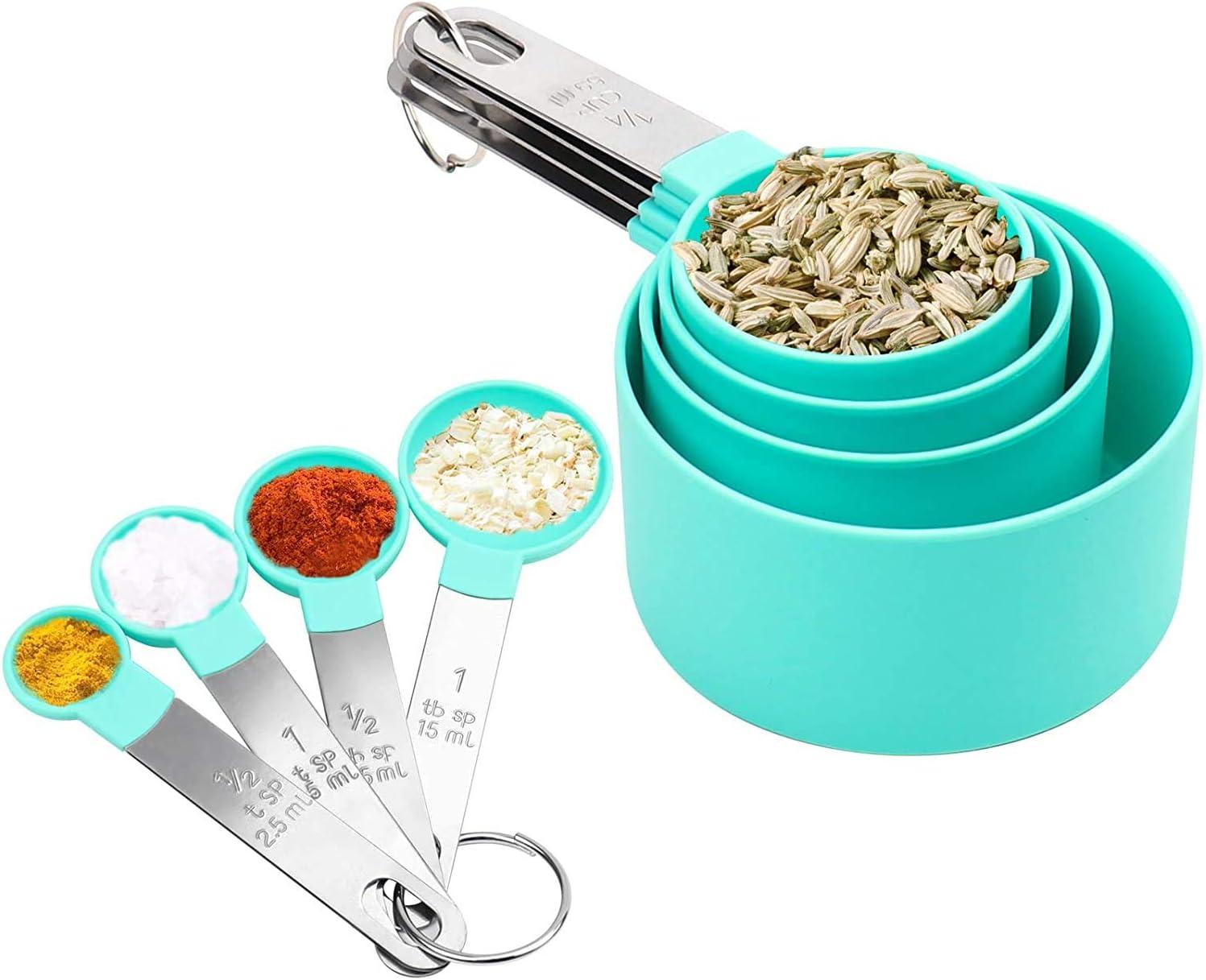 Juego de cucharas medidoras, 8 piezas, juego de tazas y cucharas de medición apilables con mango de acero inoxidable, herramienta de medición de plástico para líquidos y sólidos para cocinar (verde)