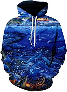 QIZUI New Thin Hoodies Fish Hoodie Mens Streetwear Funny Tropical Fish Clothing Casual Hooded Sweatshirt Plus Size
