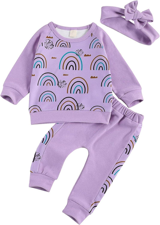XIAOXUEG Newborn Baby Girl Outfits Long Sleeve Sweatshirt + Long Pants + Headband 3PCS Toddler Girl Clothes Set