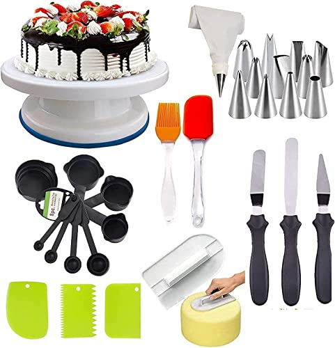 DEETTO Cake Turntable 12 Piece Cake Decorating Nozzle Set 3 in 1 Multi Function Knife Set 3 Side Scrapper Cake Board 5 Piece 8 Measuring Cups and Spoon set of combo
