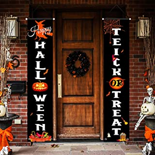 FSFLAG Halloween Decorations Outdoor - 2 PCS Halloween Yard Decorations - Vivid Color and UV Fade Resistant - Halloween Flag Decor Sign for Door Wall Outdoors Party Home (Halloween Trick or Treat)
