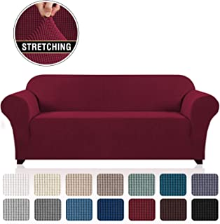 "Stretch Sofa Cover Large Couch Covers for 3 Cushion Couch Oversized Sofa Slipcovers Furniture Covers, Thick Checked Jacquard, Anti Slip Foam Articles (Extra Wide Sofa: 96""-116"", Burgundy)"