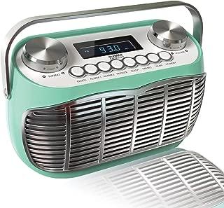 Detroit, FM AM Radio Alarm Clock Bedside Mains Powered Or Battery FM Retro Radio with LCD Display Clock Radio (Green)