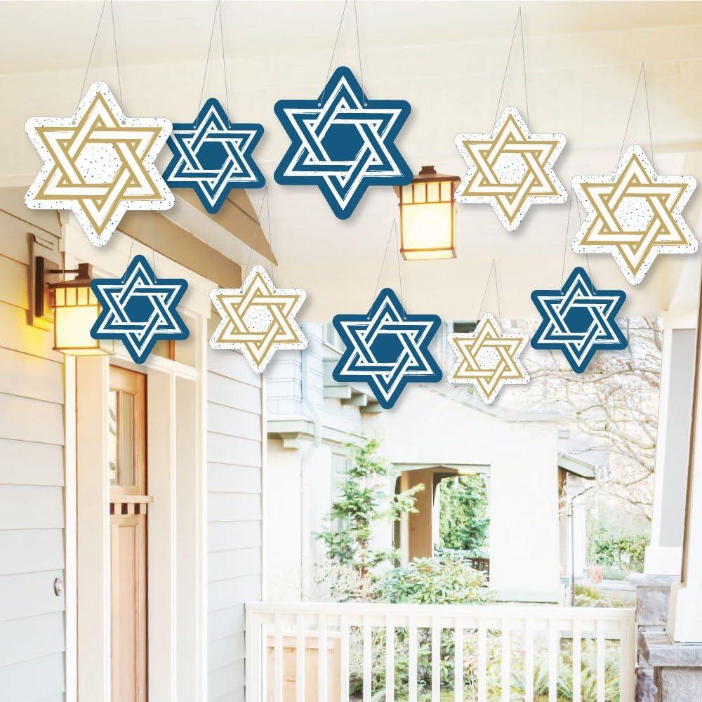 Big Dot of Happiness Hanging De 全店販売中 クリアランスsale 期間限定 Outdoor Hanukkah Happy -