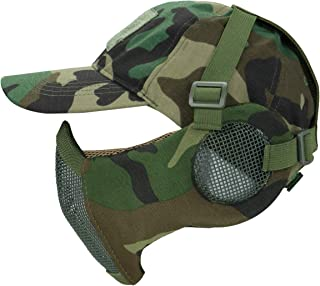 Foldable Half Face Mesh Mask and Cap Set, Adjustable Airsoft Mesh Mask with Ear Protection and Baseball Cap Comfortable Lower Face Protective Mask for CS/Hunting/Paintball/Shooting