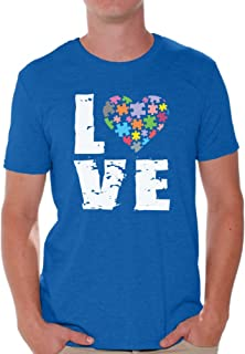 Awkward Styles Men's Love Puzzles Autism Awareness Graphic T Shirt Tops Autistic Support