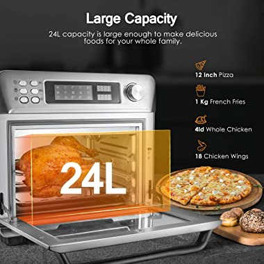 OSTBA Air Fryer Oven 26 Qt 10-in-1 Convection Toaster Oven, Air Fryer, Roaster, Broiler, Rotisserie, Dehydrator, Toaster, Piz