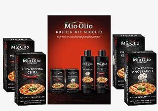 Mio-Olio 04110 Rezeptbuch & 20 Knoblauch-Öl & 20 Scharfes Chili-Öl | Zum Würzen von Speisen | 100% Original-Rezeptur | Ohne Konservierungsstoffe | 7.5 ml Je Portionsbeutel, 1er Pack 1 x 300 ml