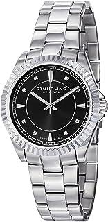 Stuhrling Original Women's 408L.12111 Aquadiver Regatta Lady Marine Swiss Quartz Black Dial Stainless Steel Bracelet Watch